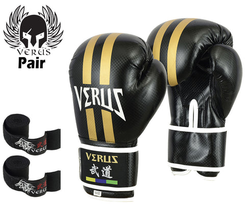 Bundle Boxing Glove Black/Stripe + Black Hand Wrap