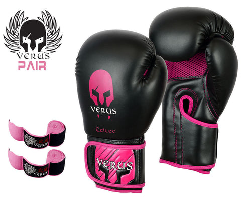 Bundle Boxing Glove Black/Pink + Pink Hand Wrap