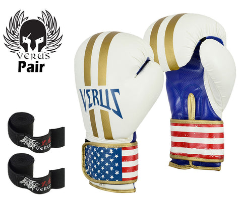 Bundle Boxing Glove White/Stripe + Black Hand Wrap