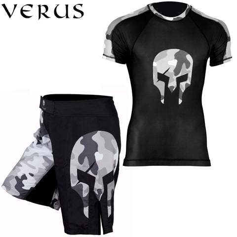 VERUS Grey Camo Style Rash Guard and MMA Shorts Set
