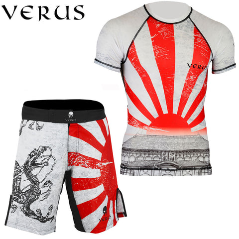 VERUS White/Dragon Style Rash Guard and MMA Shorts Set