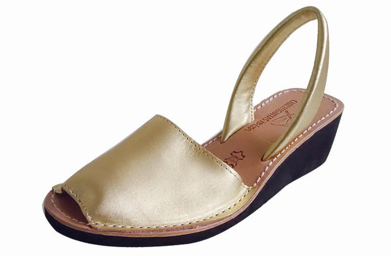 Anabela Leather Gold