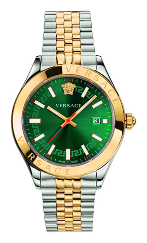 Versace Hellenyium Green Dial Two-Tone Stainless Steel Men's Watch VEVK00620