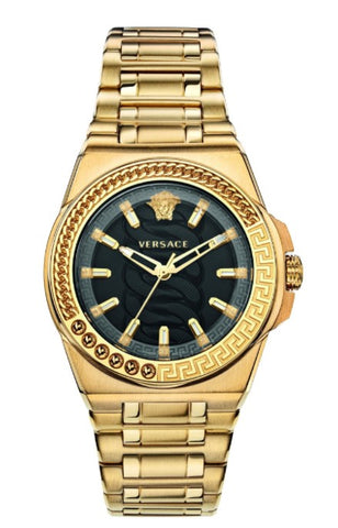 Versace Chain Reaction Black Dial Gold Stainless Steel Women's Watch