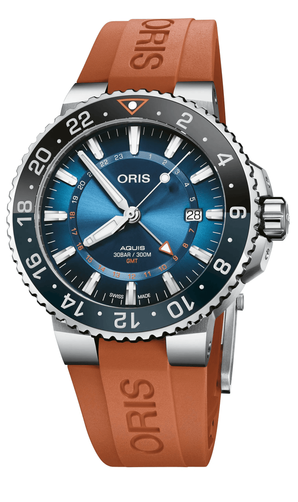 Oris Aquis Carysfort Reef Limited Edition Orange Strap Men's Watch 01 798 7754 4185-Set RS