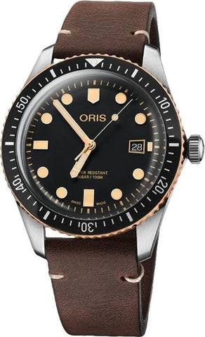 Oris Divers Sixty-Five Bronze Brown Leather Strap 42mm Men's Watch 01 733 7720 4354-07 5 21 44