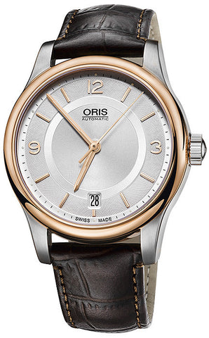 Oris Classic Date Watch Rose Gold PVD Bezel Dark Brown Leather Strap 01 733 7578 4331-07 5 18 10 Swiss Made