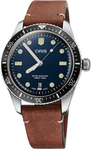 Oris Divers Sixty-Five Blue Dial Leather Strap Men's Watch 01 733 7707 4055-07 5 20 45