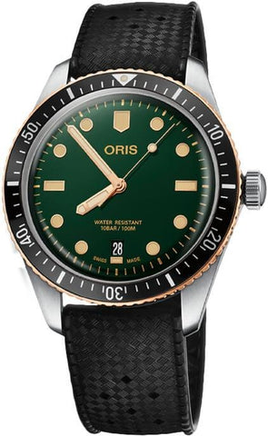Oris Divers Sixty-Five Bronze Green Dial Rubber Strap Men's Watch 01 733 7707 4357-07 4 20 18