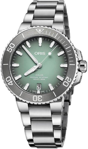 Oris Aquis Date 39.5mm Green Dial Stainless Steel Men's Watch 01 733 7732 4137-07 8 21 05PEB