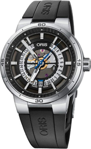 Oris TT1 Engine Date Skeleton Dial Black Strap Men's Watch 01 733 7752 4124-07 4 24 06FC