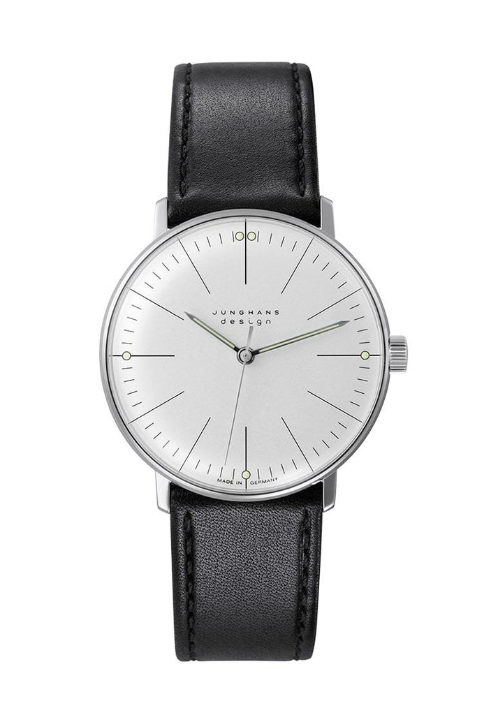 Junghans Max Bill Hand-Winding Black Leather Strap Unisex Watch 027/3700.04