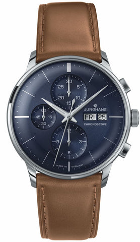 Junghans Meister Chronoscope Automatic Blue Sunray Dial Men's Watch 027/4526.01