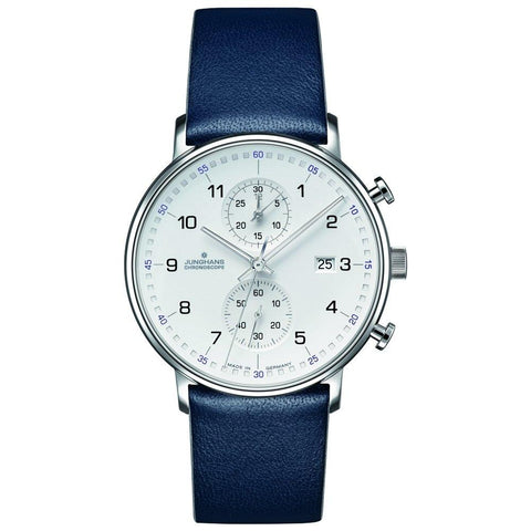 Junghans Form C Chronoscope 40mm Quartz Blue Strap Men's Watch 041/4775.00