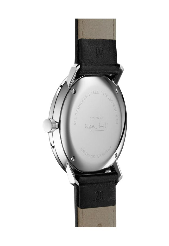 Junghans Max Bill Quartz 38mm Black Leather Strap Men's Watch 041/4817.04