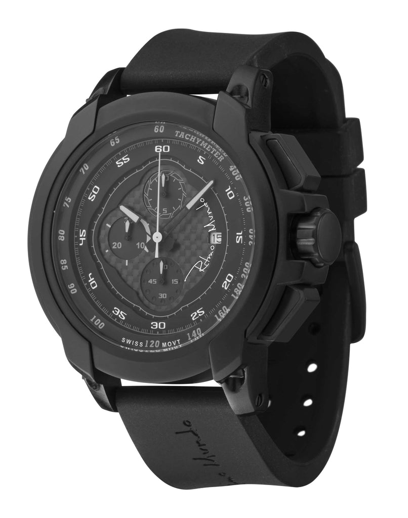 Ritmo Mundo Quantum 1 Black 50mm Stainless Steel-Aluminum Case Chrono Men's Watch 1001/1 Black