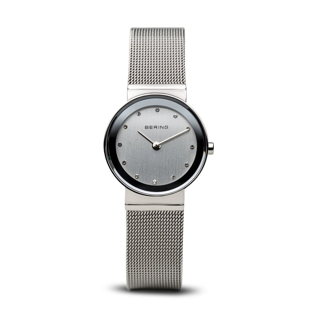 BERING Classic 26mm Polished Silver Mesh Band Women's Watch 10126-000