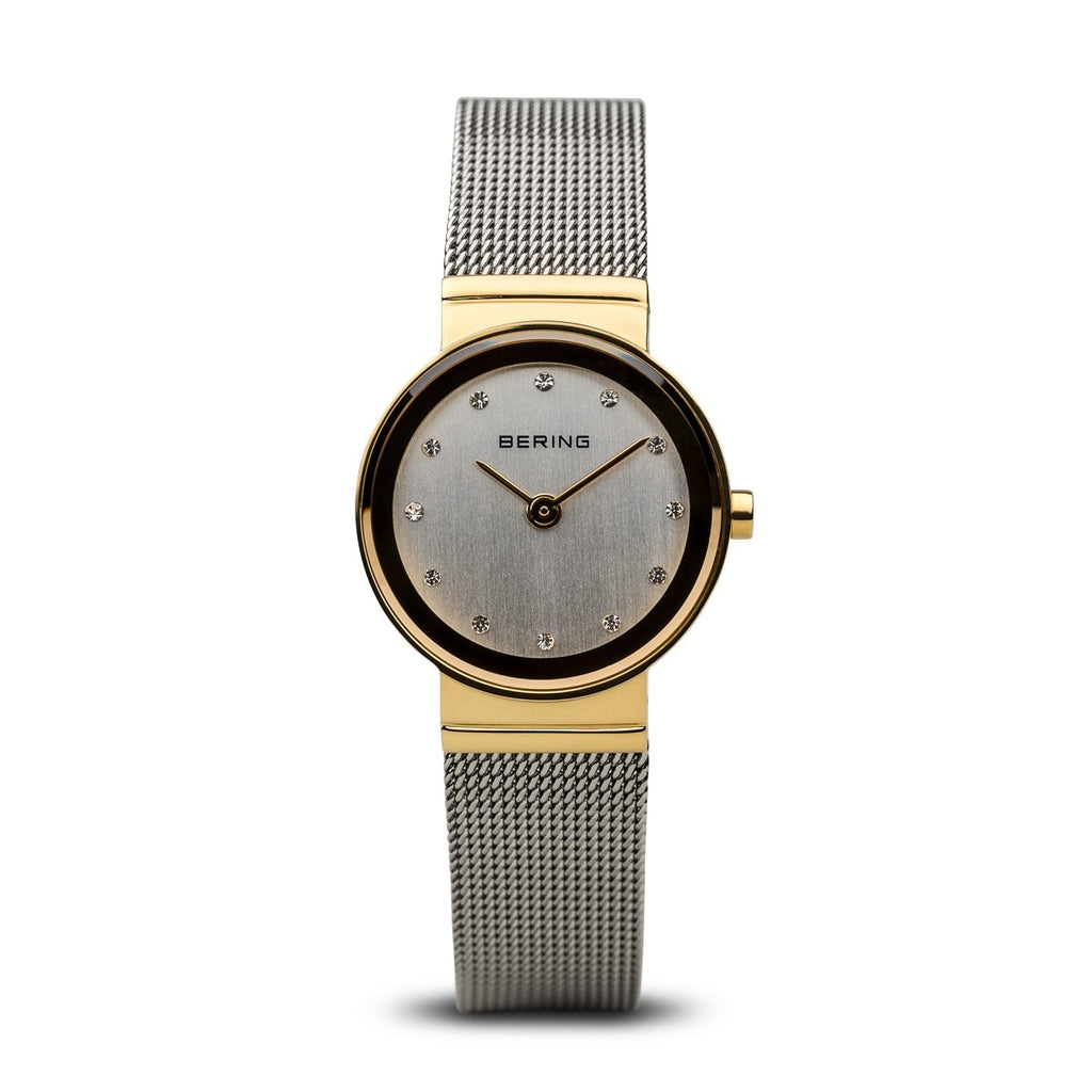 BERING Classic 26mm Polished Gold Case Mesh Band Women's Watch 10126-001