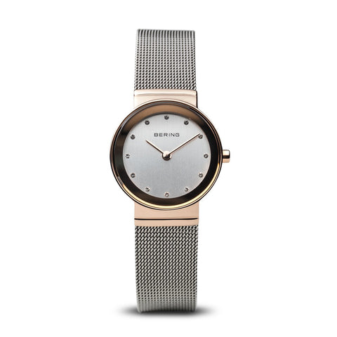 BERING Classic 26mm Polished Rose Gold Case Mesh Band Women's Watch 10126-066