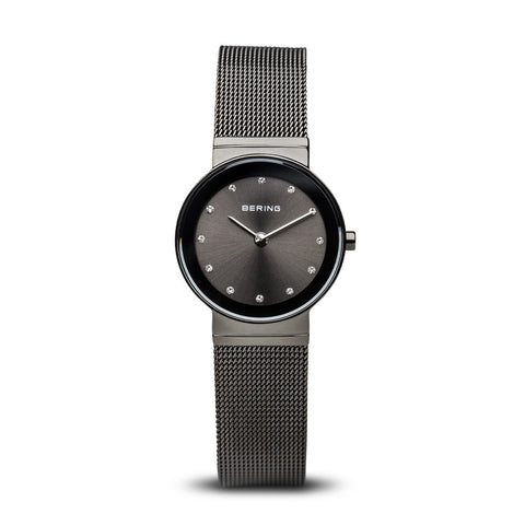 BERING Classic 26mm Polished Grey Case Mesh Band Women's Watch 10126-077