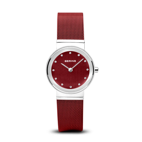 BERING Classic 26mm Polished Silver Milanese Strap Red women's Watch 10126-303