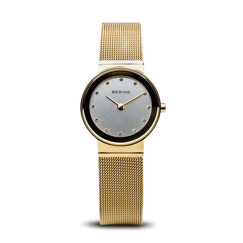 BERING Classic 26mm Polished Gold Mesh Band Women's Watch 10126-334