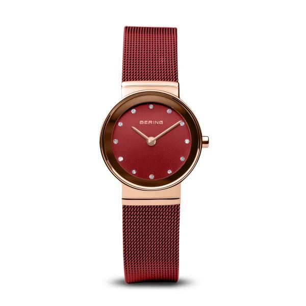 BERING Classic 26mm Polished Rose Gold Milanese Strap Red Women's Watch 10126-363