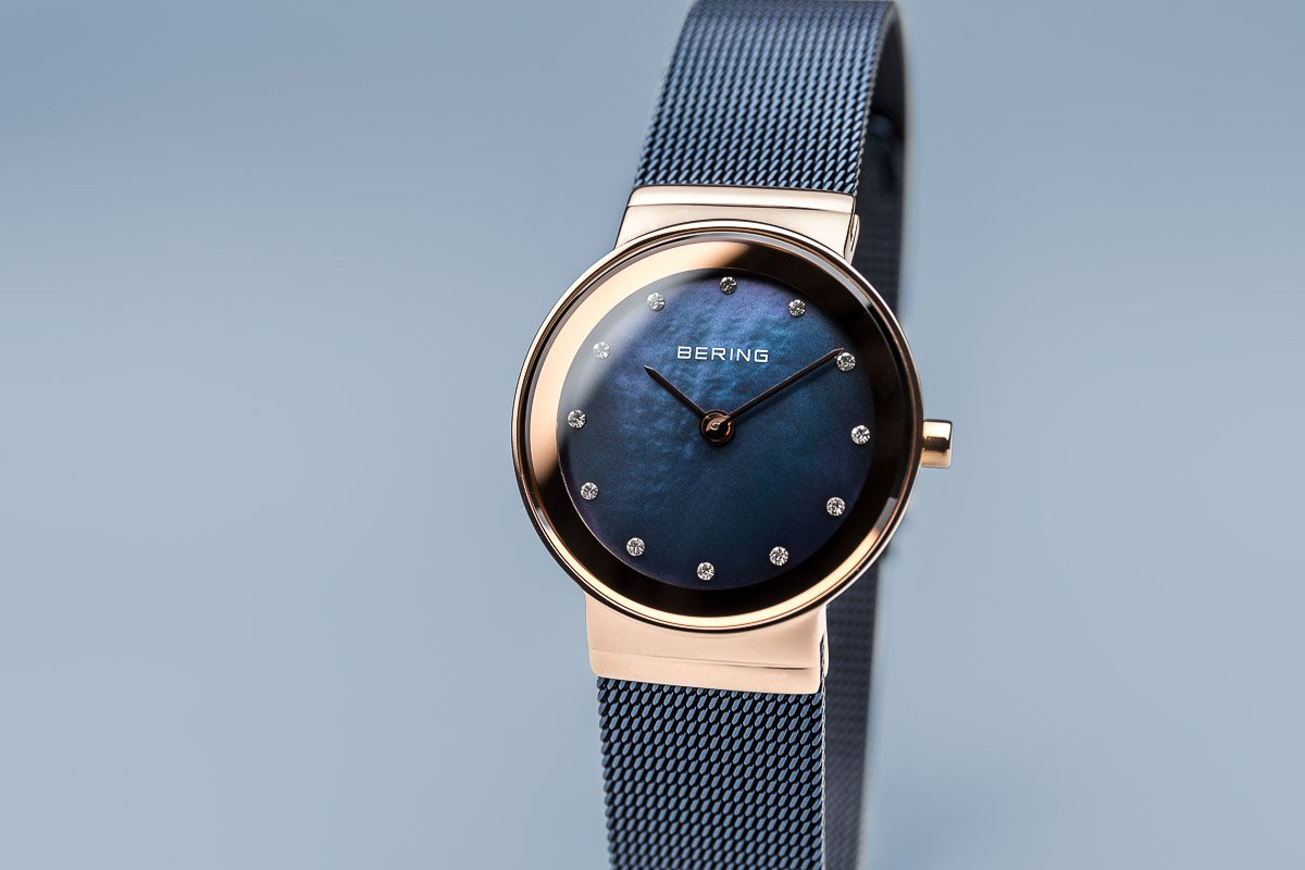 BERING 10126-367 Women's Watch Slim IP Rose Gold Case Blue Mother of Pearl Dial Blue Mesh Band