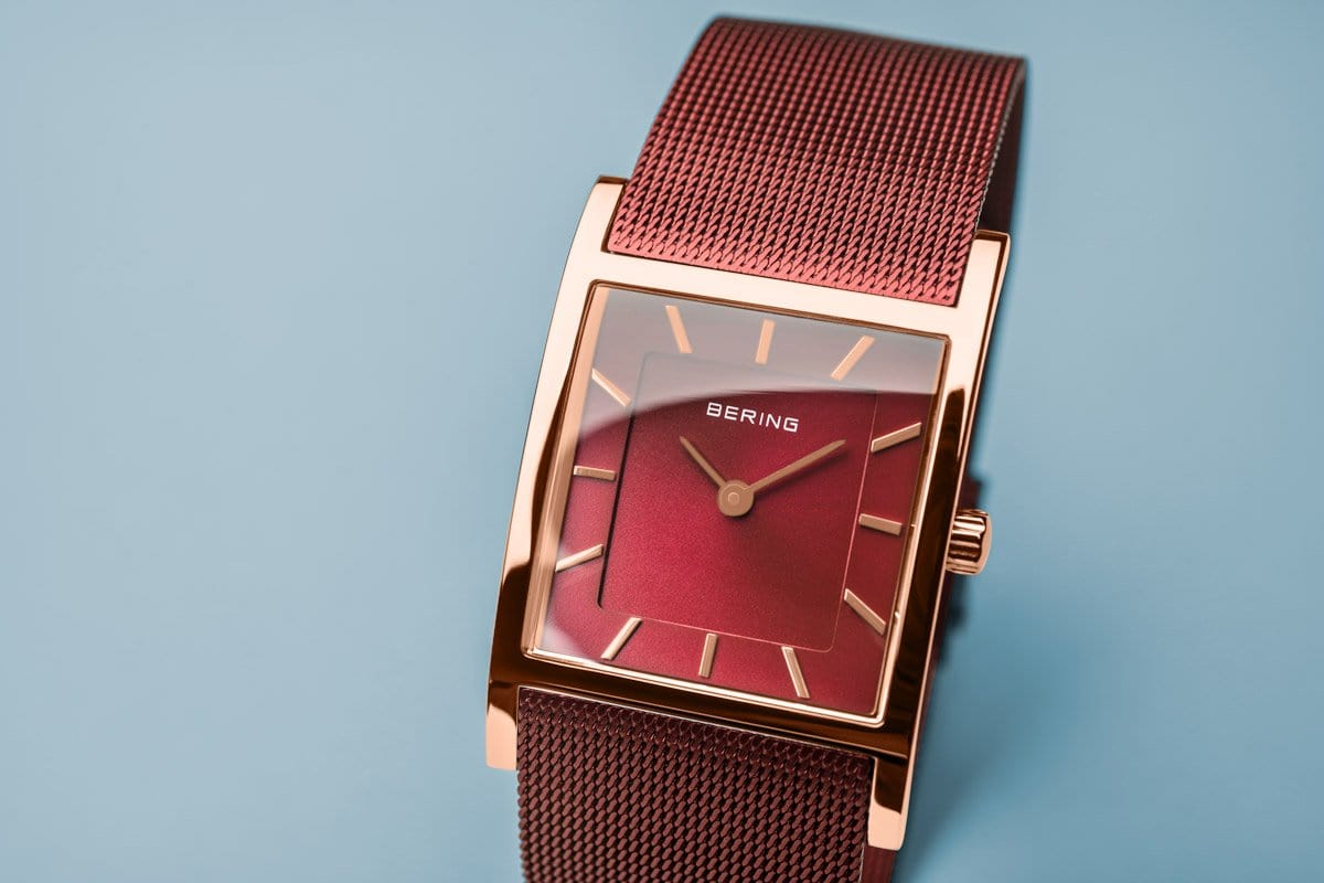 BERING Classic 26mm Red Dial Red Mesh Band Women's Watch 10426-363-S