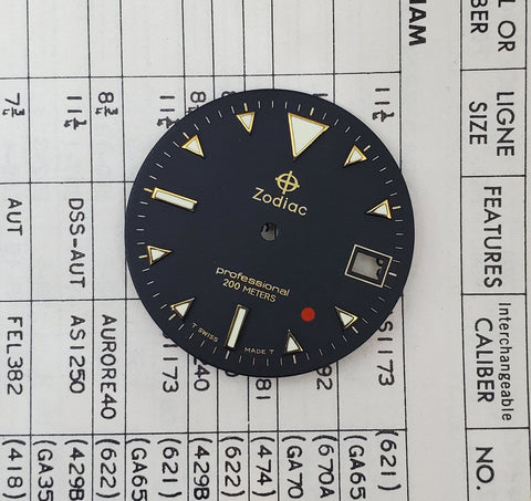 Vintage Zodiac Red Dot 28.5mm Black Dial 106.17.31