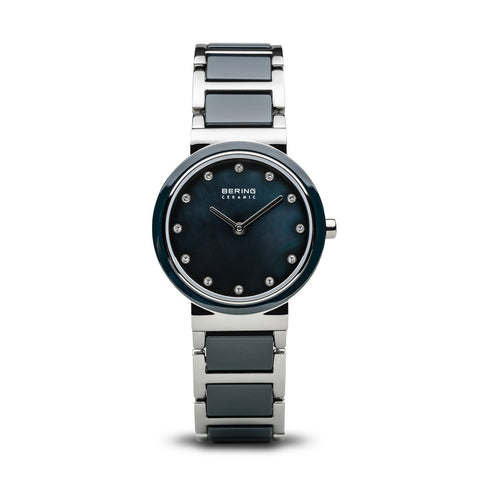BERING Ceramic 25mm Polished Silver Blue Dial Women's Watch 10725-787