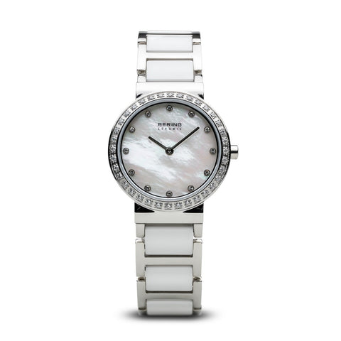 BERING Ceramic 29mm Polished Silver Stainless Steel Strap With Ceramic links Strap White Women's Watch 10729-704