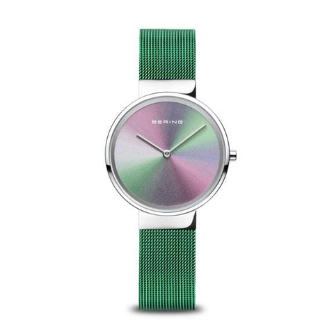 BERING Anniversary 31mm Multicolor Dial Green Mesh Band Women's Watch 10X31-Anniversary1