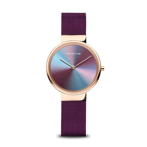 BERING Anniversary 31mm Multicolor Dial Purple Mesh Band Women's Watch 110X31-Anniversary3