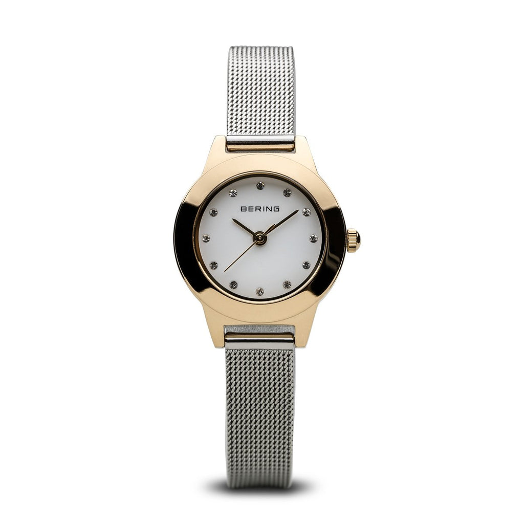 BERING 11125-010 Shiny IP Gold Case Women's Watch Silver Mesh Strap
