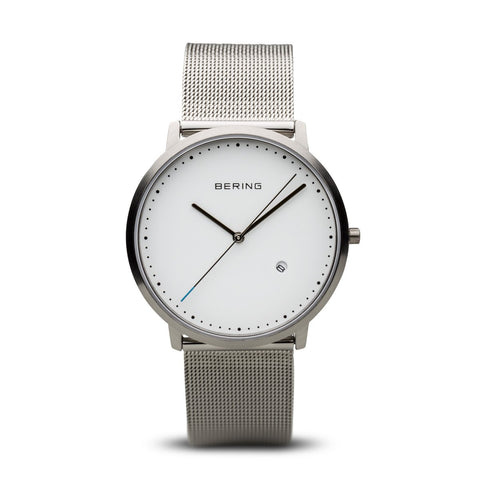 BERING Classic 39mm Brushed Silver Case Silver Mesh Band Men's Watch 11139-004