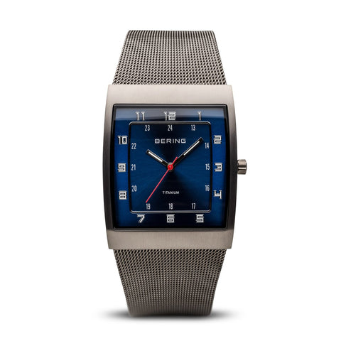 BERING Classic 33mm Titanium Brushed Grey Case Blue Dial Men's Watch 11233-078
