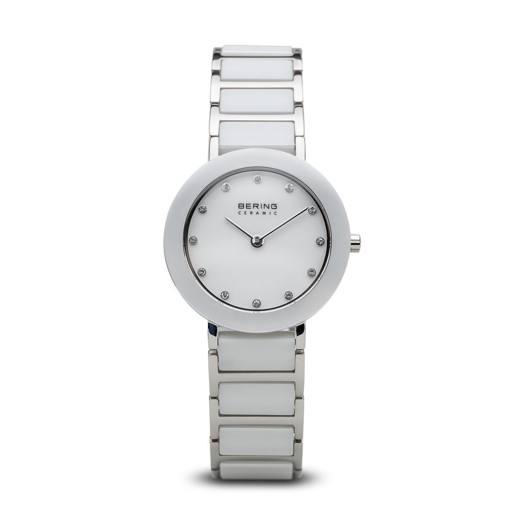 BERING White Ceramic Two-Tone Stainless Steel Crystal Markers Women's Watch 11429-754