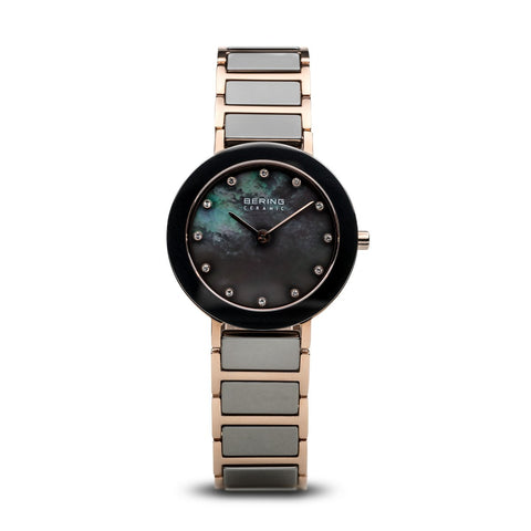 BERING 11429-769 Women's Watch Rose Gold/Gray Ceramic & Stainless Steel Grey Mother of Pearl Dial