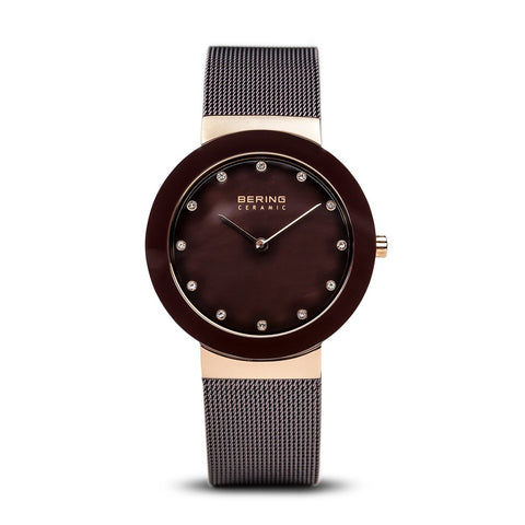 BERING Ceramic 35mm Polished Rose Gold Brown Mesh Strap Women's Watch 11435-262