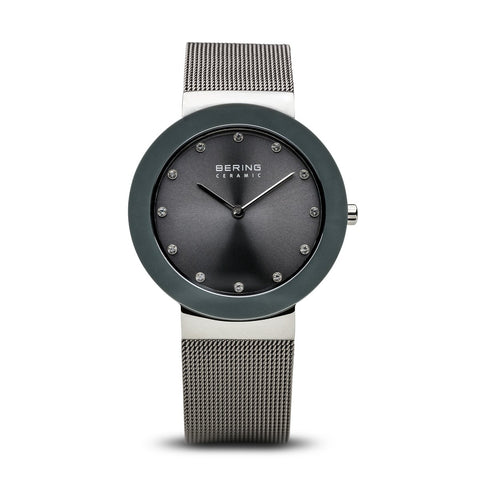BERING Gray Ceramic Mesh Band Crystal Dial Markers Women's Watch 11435-389