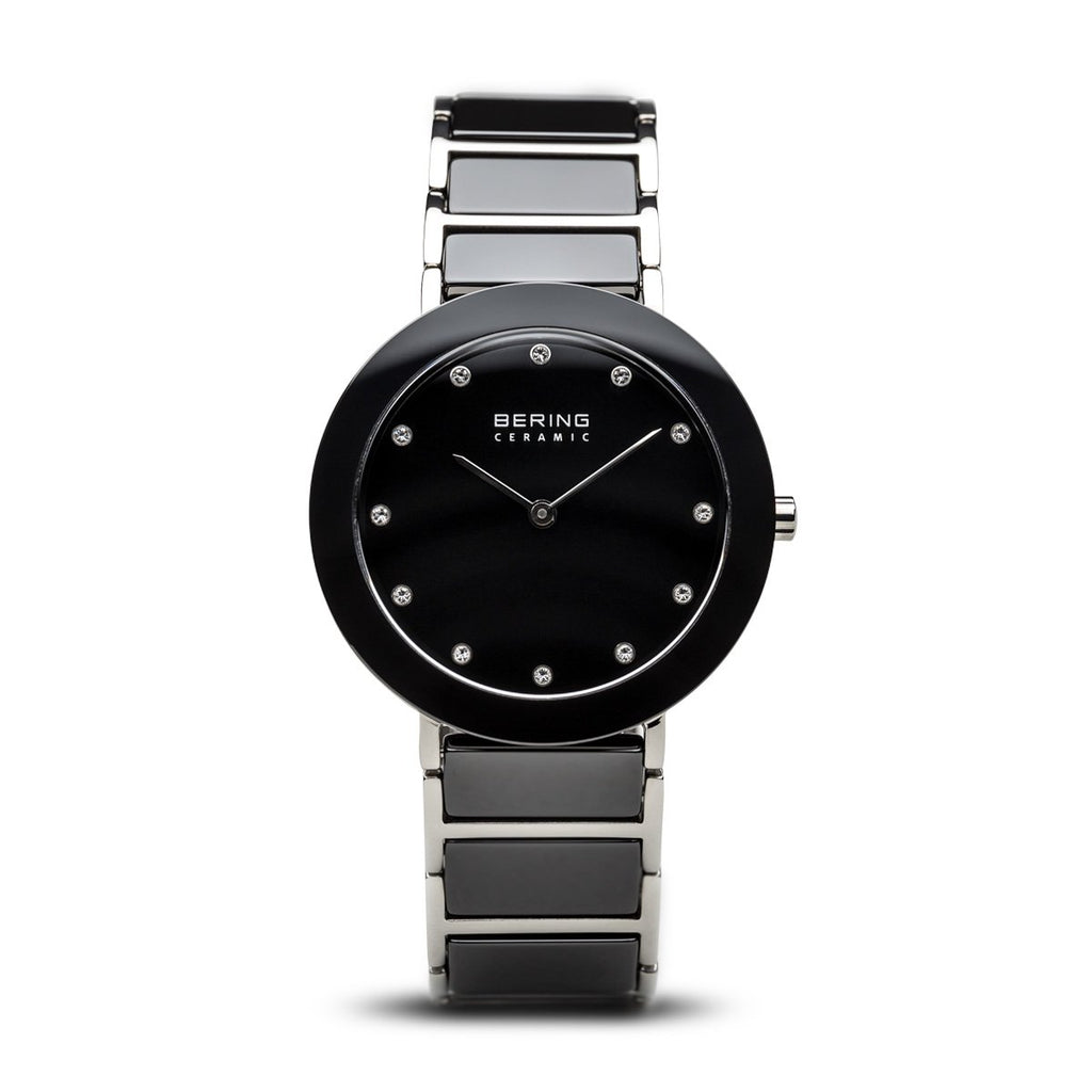 BERING Ceramic 35mm Polished Silver Case Black Dial Crystal Markers Women's Watch 11435-749