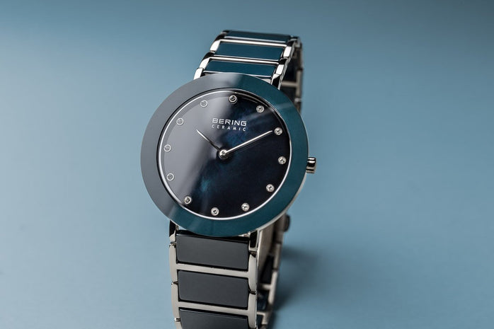 BERING Ceramic Polished Silver Blue Mother of Pearl Dial Women's Watch 11435-787