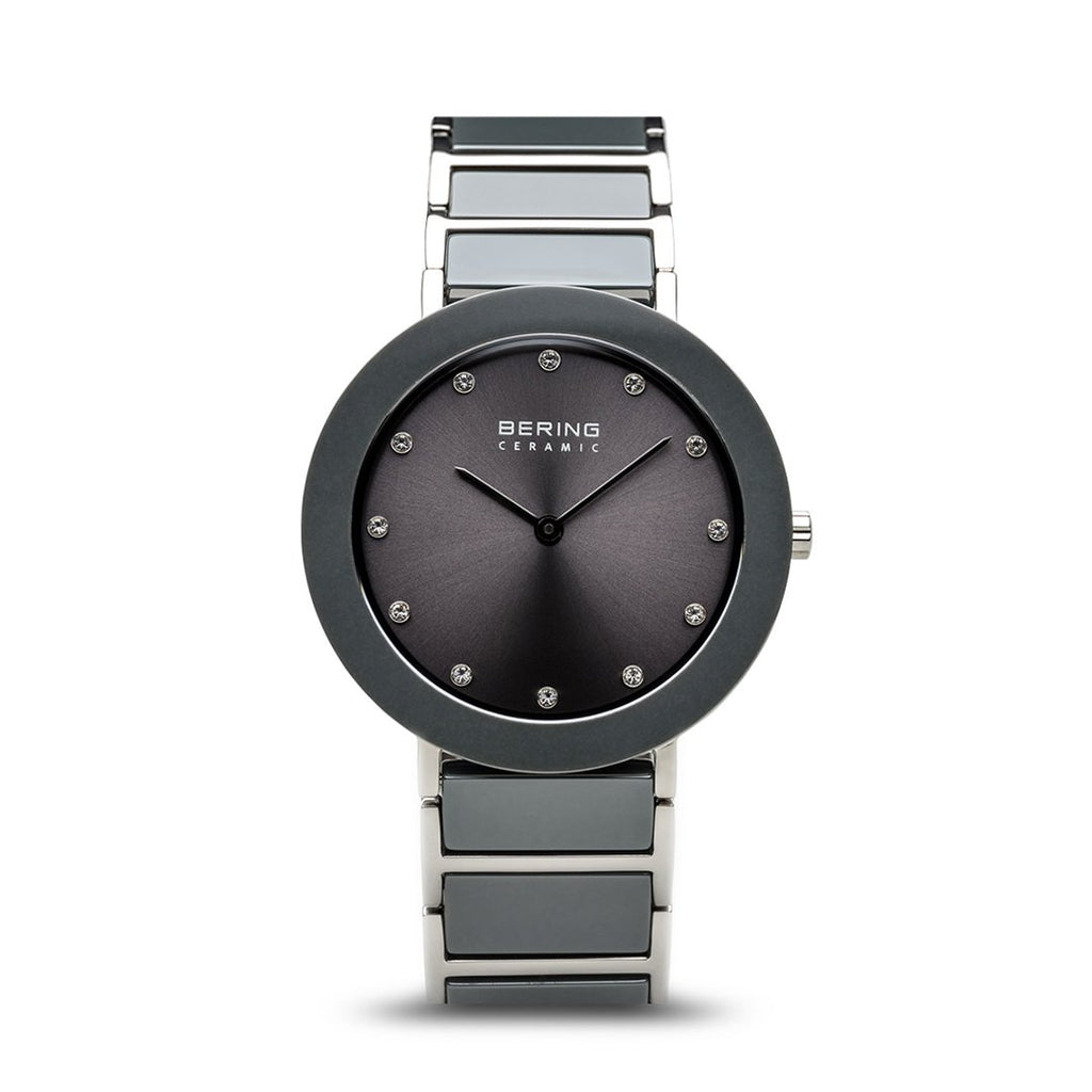 BERING Ceramic 35mm Polished Silver Grey Stainless Steel Strap With Ceramic Links Women's Watch 11435-789