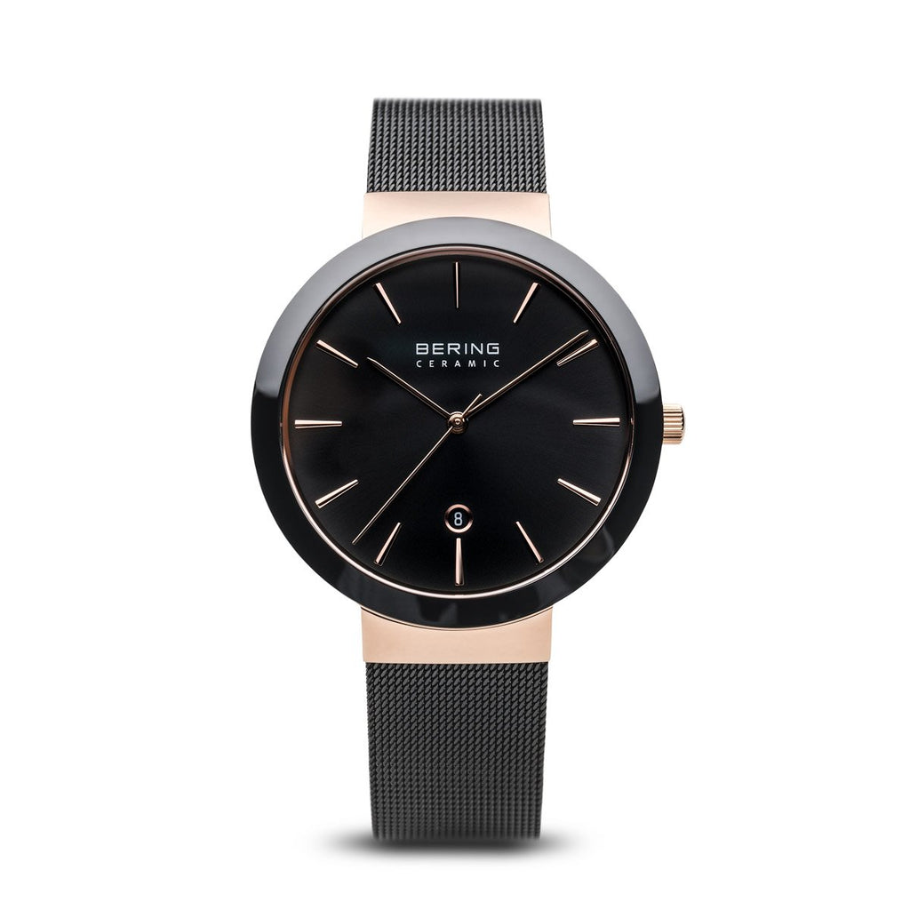 BERING Ceramic 40mm Polished Rose Gold Case Black Mesh Band Women's Watch 11440-166