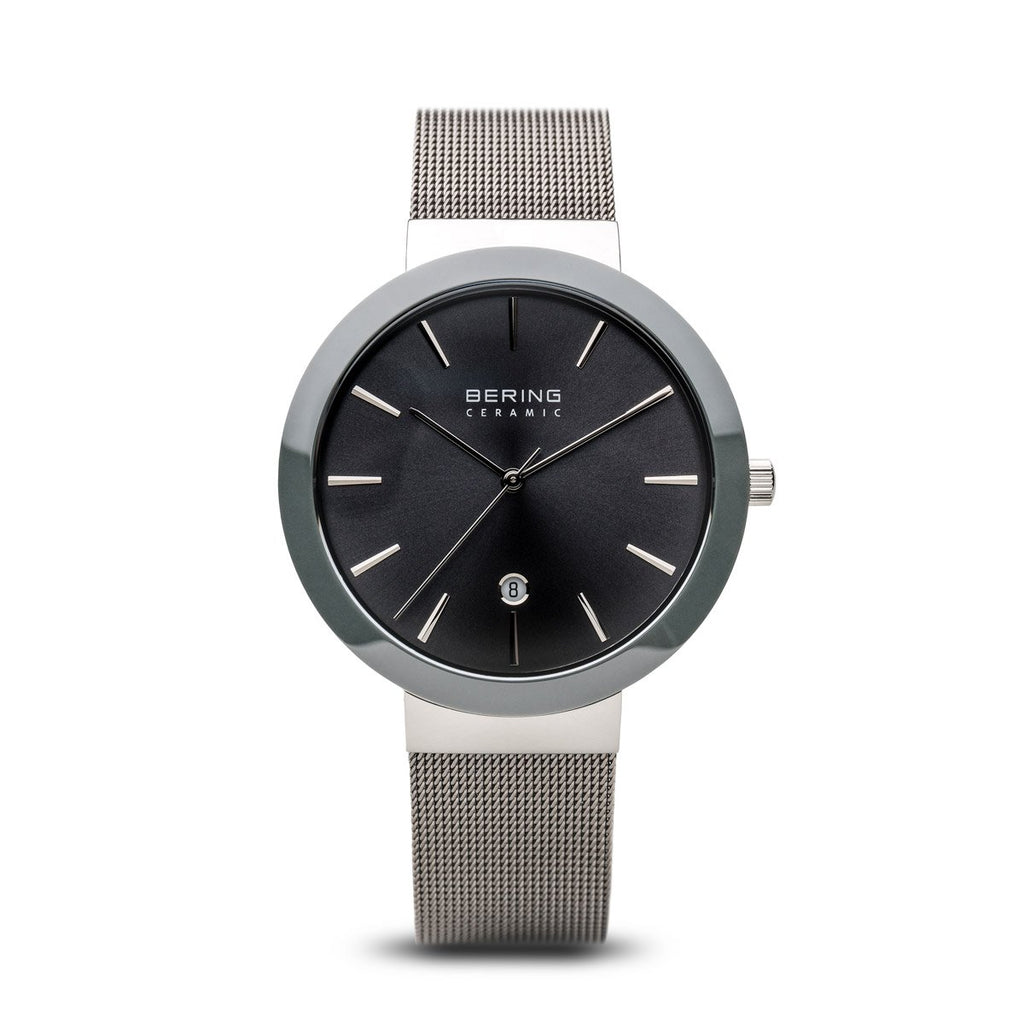 BERING Ceramic 40mm Polished Silver Case Grey Mesh Band Women's Watch 11440-389