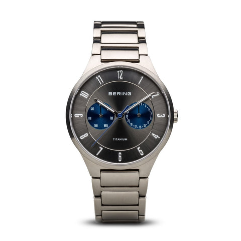 BERING 11539-777 Men's Watch Brushed Silver Titanium Case Gray Sunray Dial