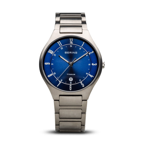 BERING 11739-707 Men's Watch Brushed Silver Titanium Blue Sunray Dial