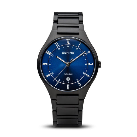 BERING 11739-727 Men's Watch Brushed Black Titanium Blue Sunray Dial