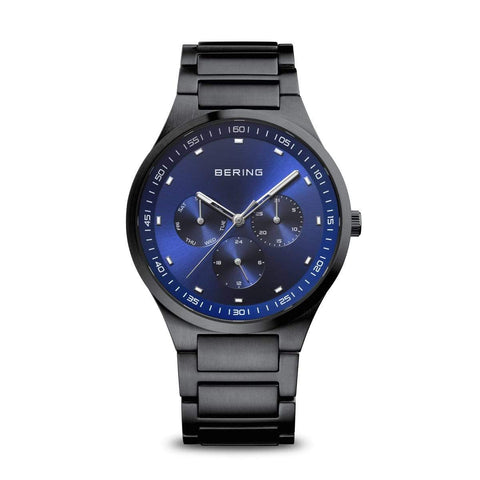 BERING Classic 40mm Blue Dial Black Stainless Steel Mens Watch 11740-727